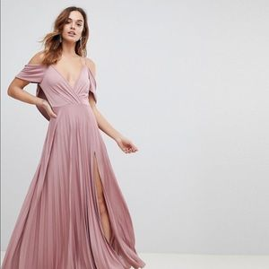 ASOS Cold Shoulder Cowl Back Pleated Maxi Dress